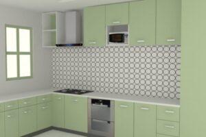 modular kitchen design with tiled walls2