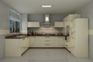 cream c shape modular kitchen design