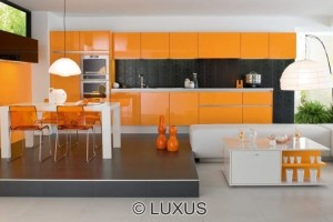 lively orange kitchen design