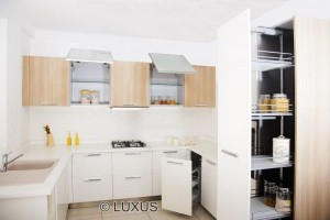 modular kitchen with various storage options