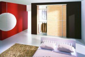 corner wardrobe with sliding doors open