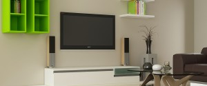 Modern TV Units with one base unit and two wall units