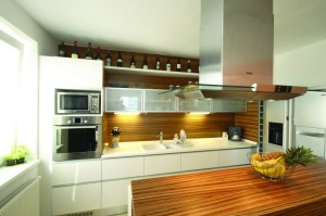 wooden kitchen with built in leds