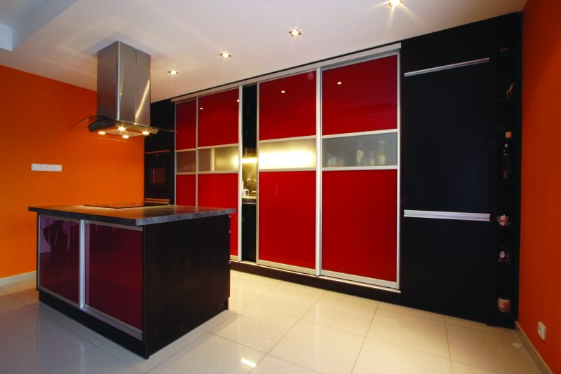 Modular Kitchen With Pu Painted Sliding Door Shutters